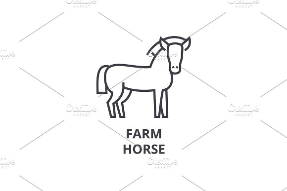 Farm Horse Line Icon Outline Sign Linear Symbol Vector Flat