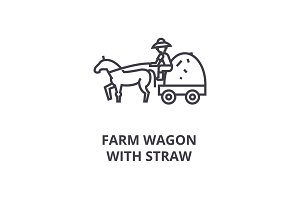 farm wagon with straw line icon, outline sign, linear symbol, vector, flat illustration