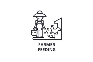 farmer feeding line icon, outline sign, linear symbol, vector, flat illustration