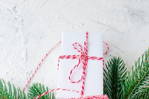Christmas gift boxes and fir branche