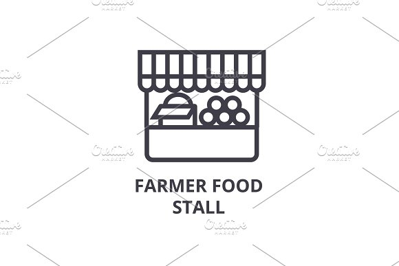 farmer food stall line icon, outline sign, linear symbol, vector, flat illustration
