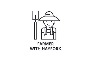 farmer with hayfork line icon, outline sign, linear symbol, vector, flat illustration