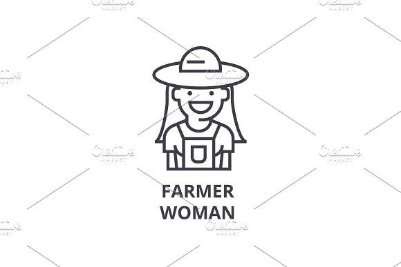 farmer woman line icon, outline sign, linear symbol, vector, flat illustration