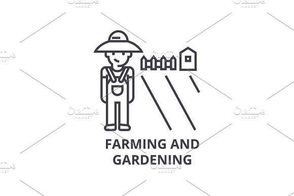 farming and gardening line icon, outline sign, linear symbol, vector, flat illustration