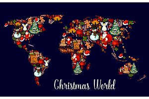 Christmas world map with New Year holiday symbols