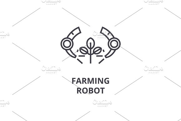 farming robot line icon, outline sign, linear symbol, vector, flat illustration