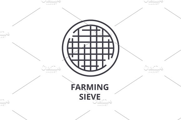 farming sieve line icon, outline sign, linear symbol, vector, flat illustration