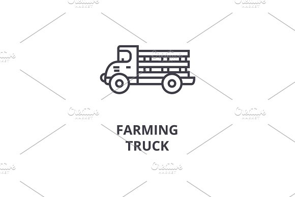 farming truck line icon, outline sign, linear symbol, vector, flat illustration