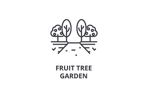fruit tree garden line icon, outline sign, linear symbol, vector, flat illustration