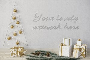 Christmas blank wall mockup template