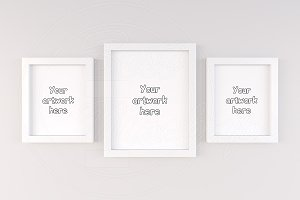 Set of 3 white frame mockup design
