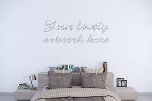 Empty wall interior mockup bedroom