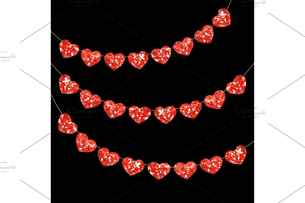 Cute festive vintage glitter hearts as bunting for your decoration