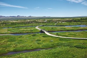 walkway in Thingvellir National Park, Iceland