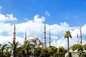 The Blue Mosque or Sultanahmet outdoors in Istanbul city in Turkey