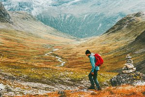 Hiking Man in scandinavian mountains