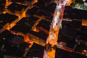 rooftop view of Istanbul street with traffic at night
