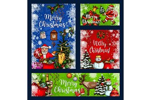 Christmas greeting wish vector sketch cards