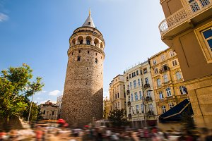 Famous tourist place Galata tower in Istanbul in Turkey