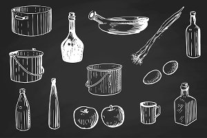 Vector set of kitchenware
