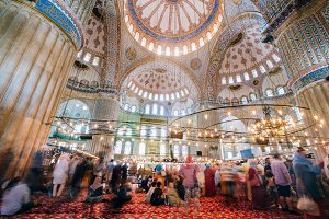 The Blue Mosque interior or Sultanahmet indoors in Istanbul city in Turkey