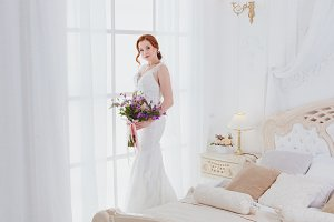 Morning of the bride on her wedding
