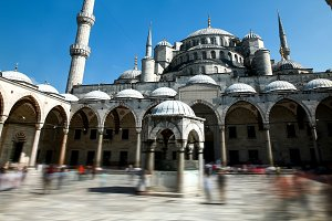 Blue Mosque or Sultanahmet outdoors in Istanbul city in Turkey