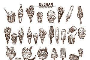 Bundle of 25 ice cream vector set 1