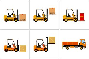 Vector forklift truck with cargo