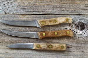 Vintage Knives on Age Wood