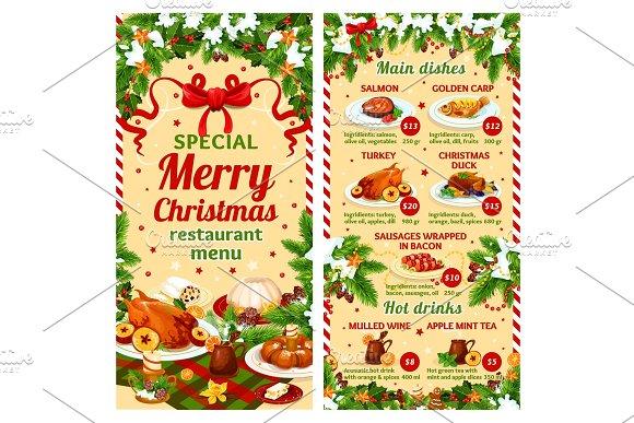 Christmas Dinner Vector Restaurant Dish Menu