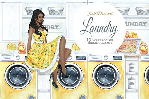 Laundry Watercolor Clipart 2