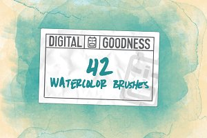 42 Watercolor Brushes