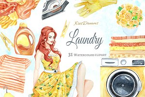 Laundry Watercolor Clipart 1