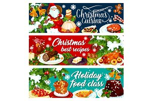 Christmas dinner banner with winter holiday food