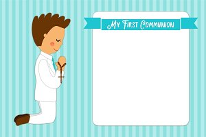 Cute First Communion card for boys