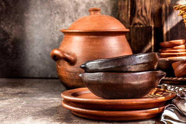 Arts & Entertainment Stock Photos: LARISA BLINOVA - Clay rustic kitchenware - pot, bowls and plates from Chilean Pomaire