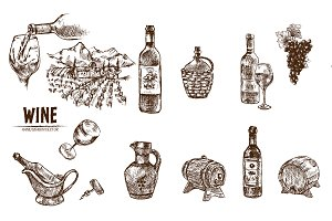 Bundle 12 wine objects vector set