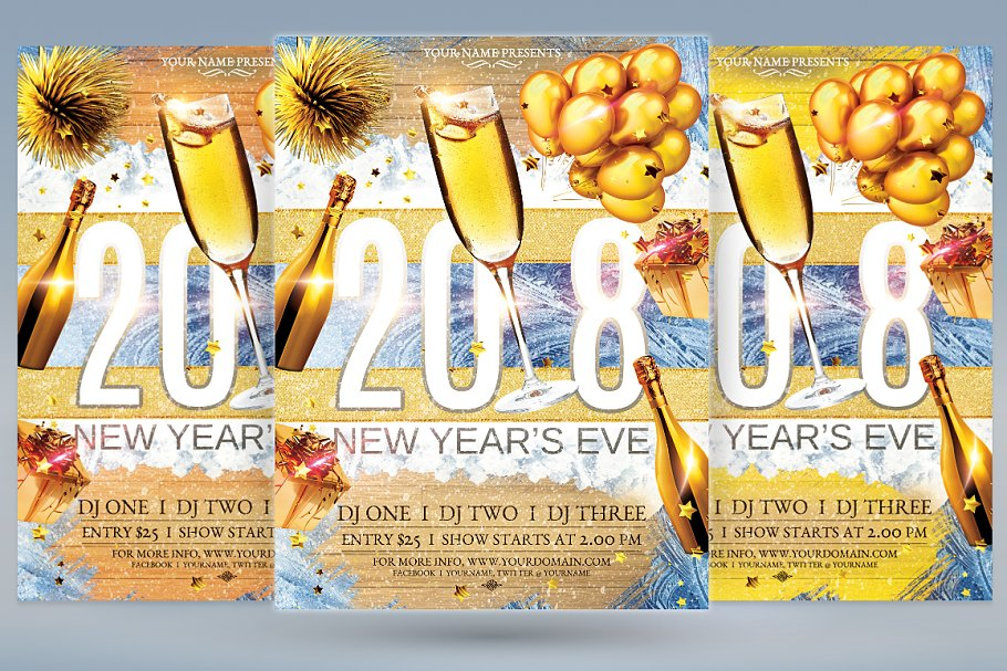 2018 New Years Eve in Flyer Templates - product preview 8
