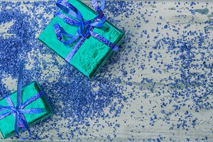 Holiday gifts in green and blue