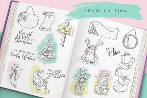 Beach Christmas illustrations