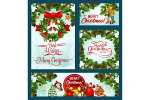 Merry Christmas holiday vector greeting cards