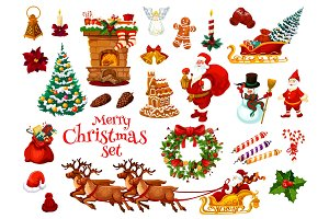 Christmas and New Year holiday icon of Xmas design