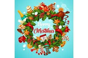 Christmas wreath greeting poster of winter holiday