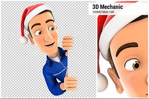 3D Mechanic with Christmas Hat