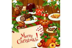 Christmas banner of festive dinner on wooden table