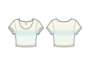 Women Scoop Neck Crop Tee Vector