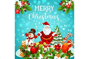 Christmas greeting card of snowman, Santa and gift