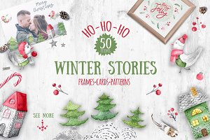 Winter stories watercolor clipart