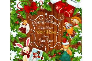 Christmas or New Year festive wreath greeting card